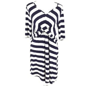 ASOS navy and white striped crossover wrap dress